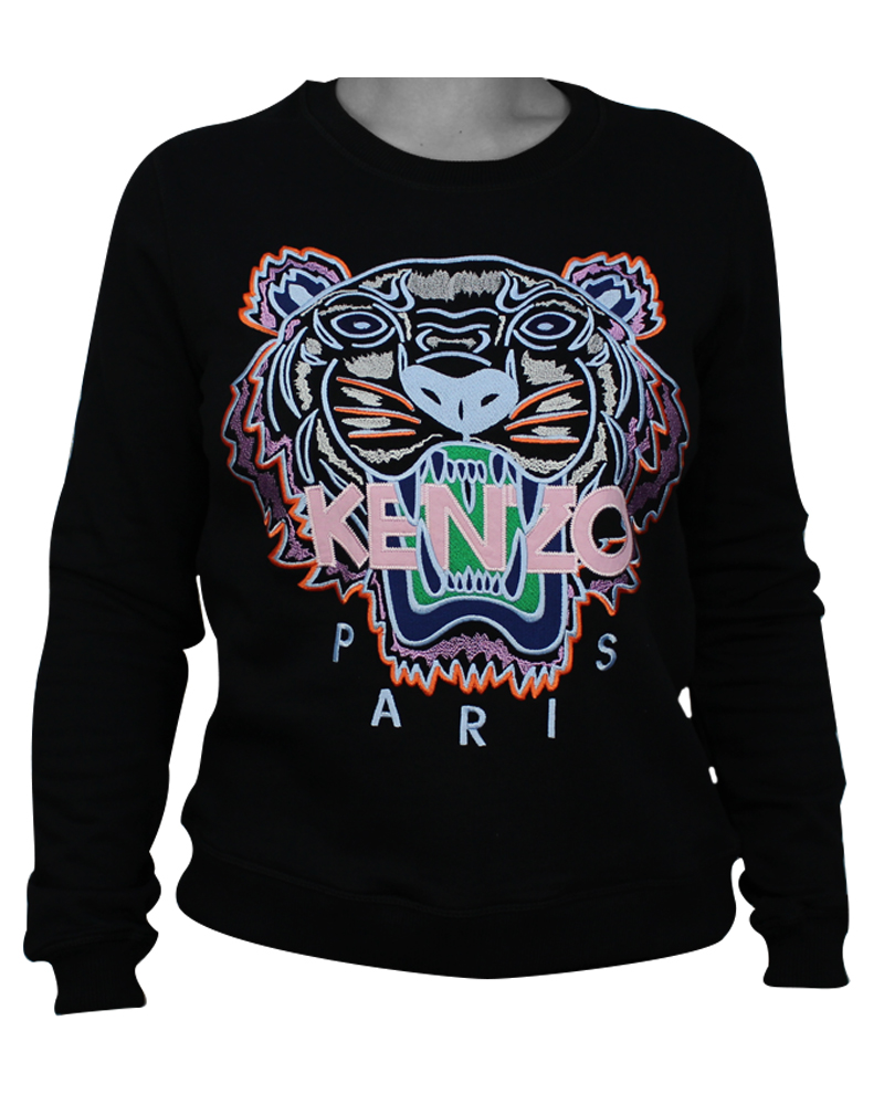 Kenzo Tiger Womans Sweatshirt Black/Light Pink XL