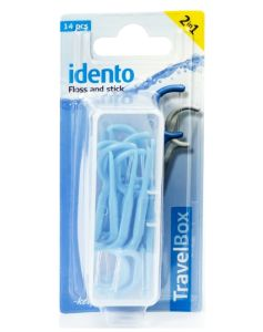 Idento Floss and Stick, TravelBox 14 stk (blå)