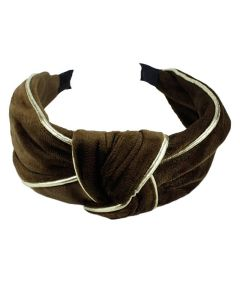 Everneed Velvet Haarband Mocca/Gold