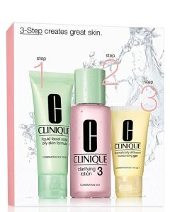 Clinique Set 3-Step Skin Care - Comb-Oily (Pink)  180 ml